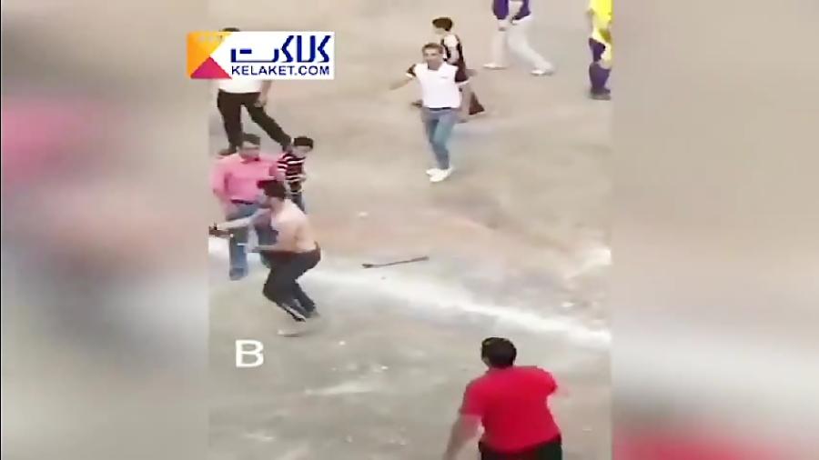 درگیری با اسلحه و قمه در زمین فوتبال