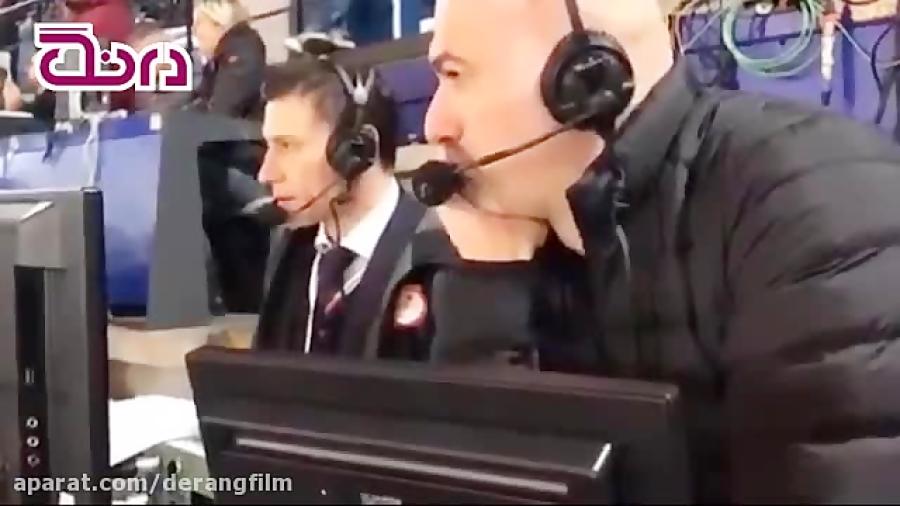 خوشحالی گزارشگر ایتالیایی پس از زدن گل سوم رم به بارسا