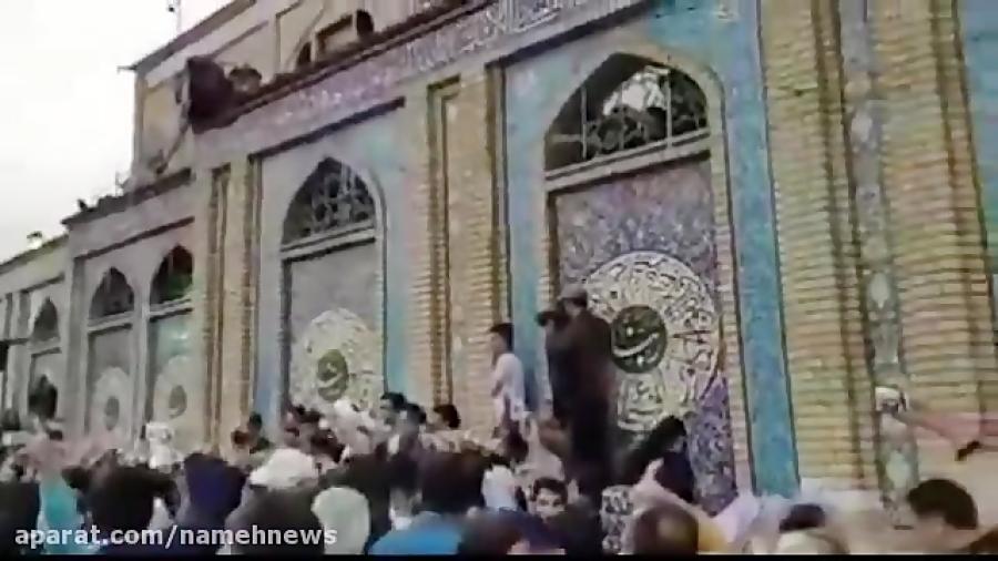 بلندگوی حرم امامزاده صالح خطاب به احمدی نژاد