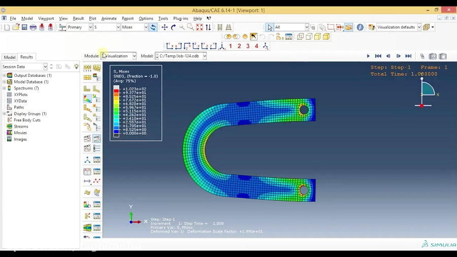 Abaqus Tutorial Videos - Curved Beam Analysis in Abaqus(3D shell)