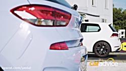 درگ هیوندای i30N با گلف GTi