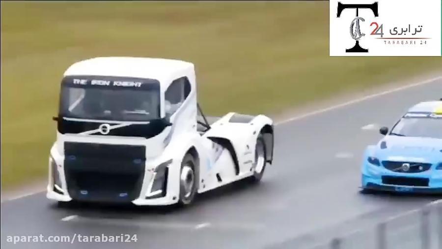 دوئل هیجان انگیز کامیون و خودرو سواری ولوو