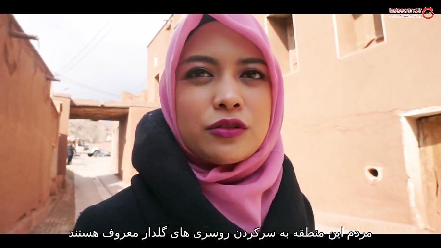 توریست دختر خارجی در دیدار از جاذبه های ایران