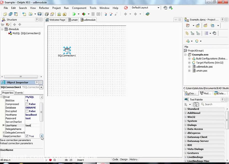 Delphi programming tutorial MySQL connection example