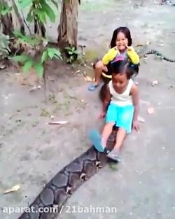مار سواری جالب دو کودک