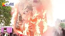 آتش زدن عروسک امانوئل ماکرون در شهر پاریس