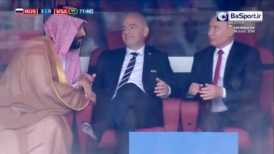 لحظه تسلیم شدن بن سلمان در مقابل پوتین بعد از گل سوم