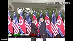 لحظه تاریخی دیدار و دست دادن ترامپ و کیم جونگ اون رهبر کره شمالی