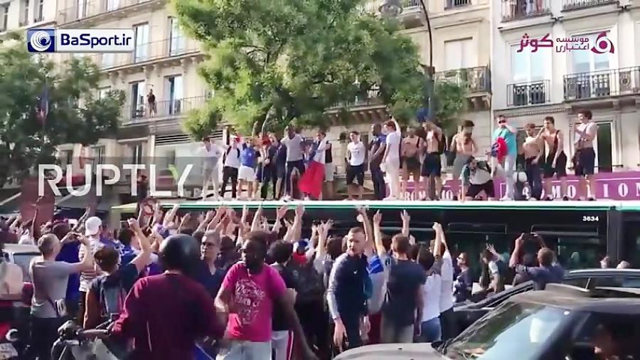 جشن هواداران فرانسه در پاریس بعد از صعود به نیمه نهایی