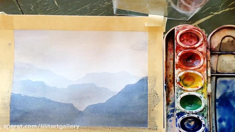 آموزش نقاشی یک منظره با تکنیک آبرنگ از صفر تا صد