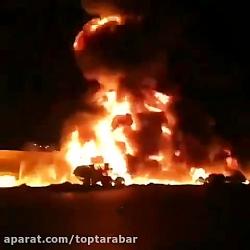 تصادف تانکر سوخت با اتوبوس در سنندج