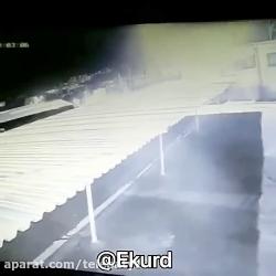 لحظه تصادف و انفجار اتوبوس مسافربری در سنندج