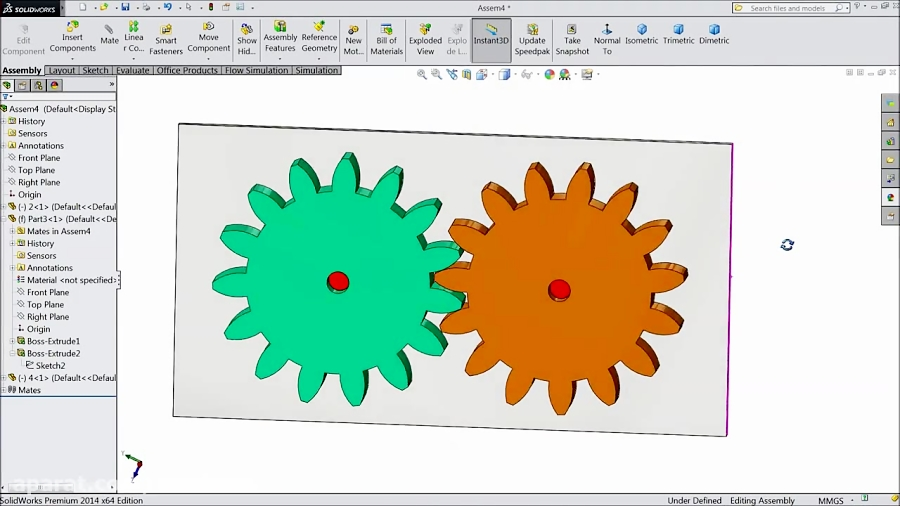 Solidworks Assembly tutorial: Gear Mate