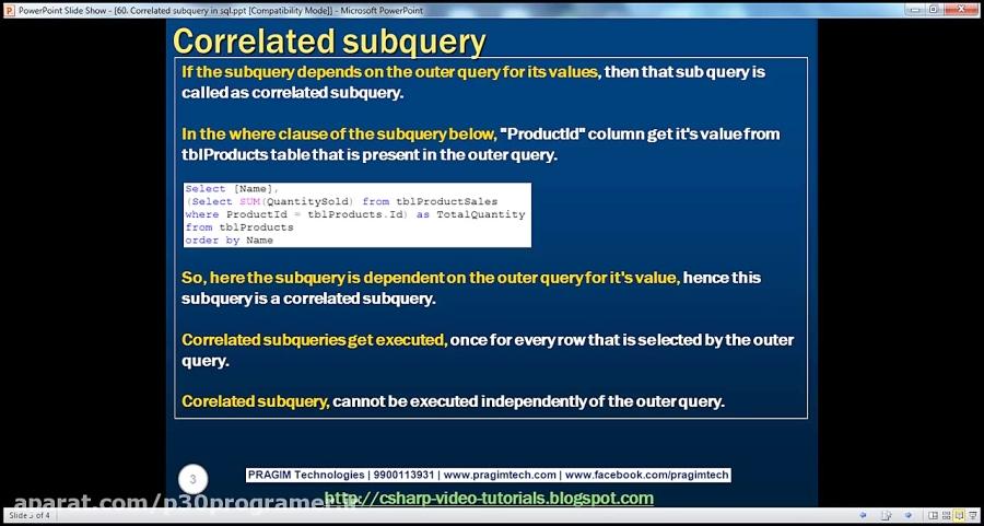 جلسه 60 Correlated subquery in sql