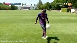 حرکات نمایشی مالکوم بازیکن جدید بارسلونا