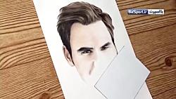 نقاشی حرفه ای از چهره ستاره بزرگ تنیس؛ راجر فدرر
