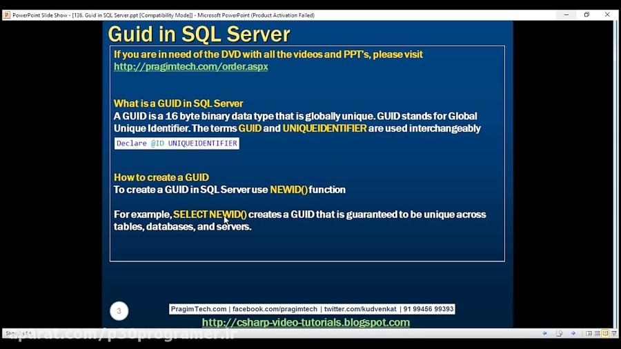 جلسه 136 Guid in SQL Server