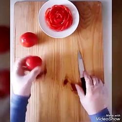 گل رز با گوجه - یه ترفند توپ و تپل