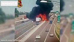 انفجار هولناک تانکر گاز در وسط بزرگراه