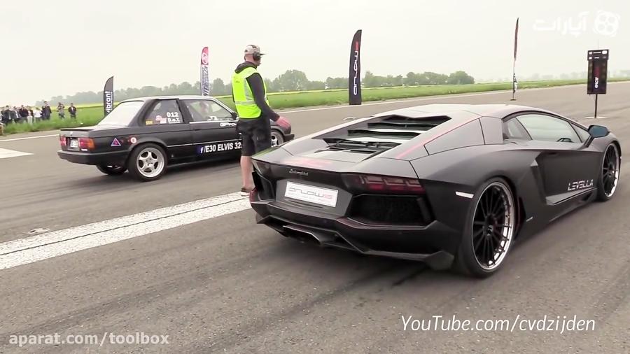 مقایسه شتابBMW E30افسانه ای با لامبورگینی Aventadorجوان