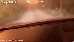 لحظات دلهره آور حرکت با خودرو در جاده جهنمی