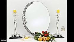 آینه شمعدان نقره عروس، ظروف تابلو ساعت و محصولات آنتیک نقره ریحانی
