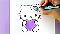 HOW TO DRAW HELLO KITTY WITH LOVE HEARTS | EASY DRAWING TUTORIAL