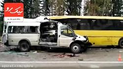 تصادف مرگبار اتوبوس با ون با ۱۲ کشته!
