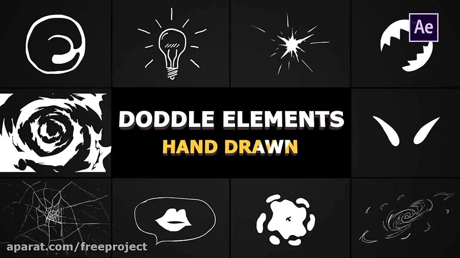 دانلود رایگان افکت های دو بعدی ویژه موشن گرافیک Flash FX Doodle Elements