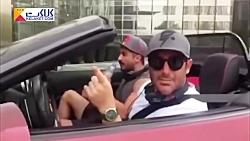 محمدرضا گلزار با ماشین لاکچریش در حال رفتن به باشگاه