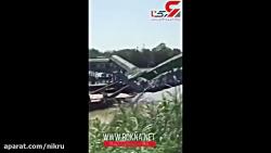 سقوط پل عابر در اثر وزن ...