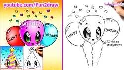 How to Draw Easy Cute Things - Happy Birthday Balloons