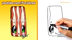 Cute Food Bacon - How to Draw Cartoons + H...