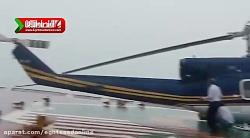 تلاش برای جلوگیری از سقوط هلیکوپتر در آب