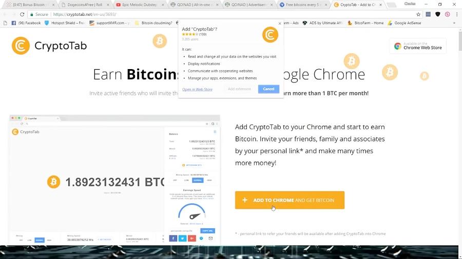 Earn 1 Bitcoin a mont Cryptotab- Google Chrome Bitcoin Mining Made  Easy-Legit
