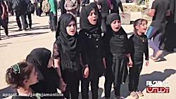 همخوانی دختر بچه های عراقی در مراسم پیاده روی اربعین