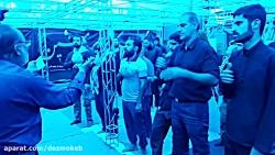 اقامه نماز جماعت و نوحه سرایی آقای تاج در موکب