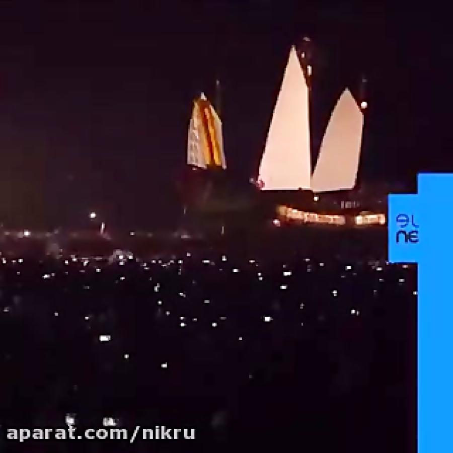 مراسم کشتی سوزان در تایوان