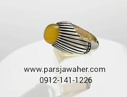 انگشتر فدیوم عقیق زرد یمنی رکاب دست ساز f252