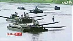 ایجاد پل موقت روی رودخانه توسط نیرو های نظامی+فیلم