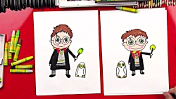 How To Draw A Cartoon Harry Potter And Hed...
