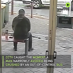 Moment bus nearly crushes man caught on CCTV
