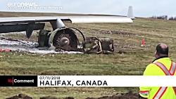 ویدئو؛ خروج هواپیما از باند به هنگام فرود در کانادا