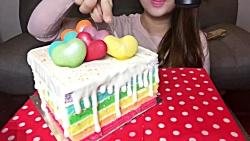 چالش خوردن کیک رنگی ★دنبالـ=دنبالـ