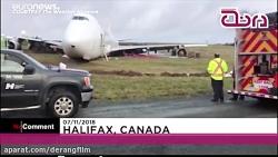 هواپیما از باند خارج شد و به بزرگراه رسید!