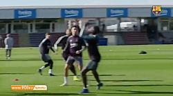 آخرین تمرین بارسلونا قبل از دیدار با رئال بتیس