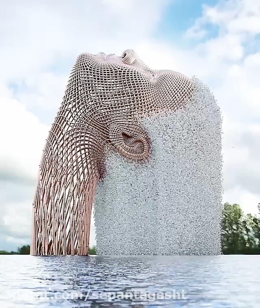 A digital fountain, Oregon, USA