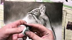 آموزش مجازی رایگان نقاشی سیاه قلم با استفاده از زغال و مداد کنته-ویدیوی 6 از 7
