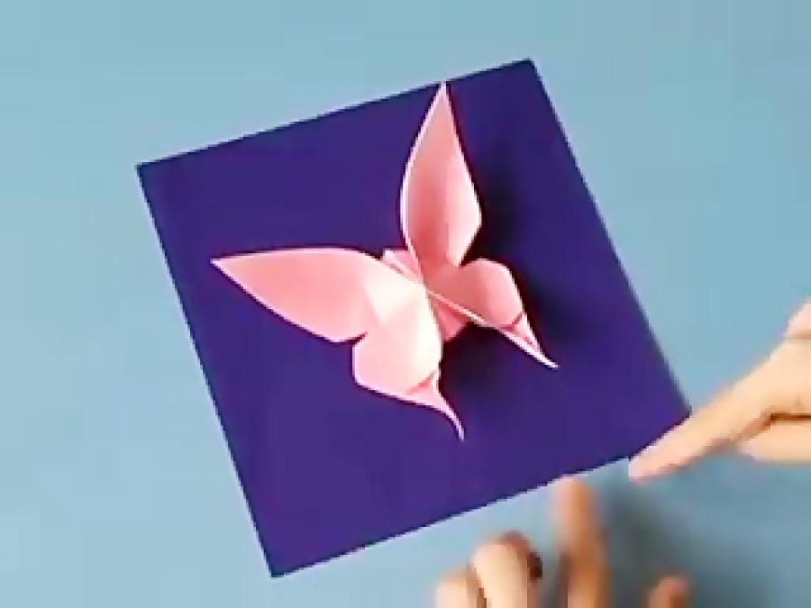 اوریگامی پروانه - آموزش ساخت پروانه - کاردستی - خلاقیت
