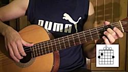 آموزش گیتار آهنگ تنهات...